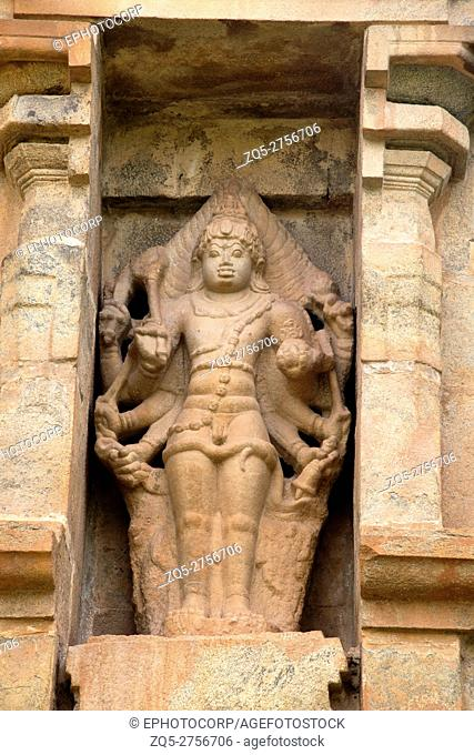 Shiva as Eight-armed Bahirava, niche on the northern wall, Brihadisvara Temple, Gangaikondacholapuram, Tamil Nadu, India