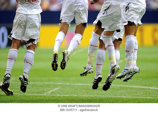 Cologne players jumping during free kick whilst standing in a wall, Liga total Cup 2010, League total Cup, match for third place between Hamburger SV and FC...