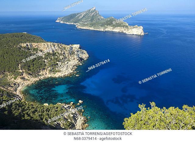 View of the island of Sa Dragonera and Cala en Basset, Majorca, Spain