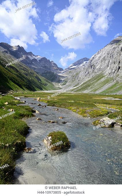 Switzerland, Europe, Graubünden, Grisons, Breil, Brigels, Val Frisal, valley, pan, flood plain, Brigel horns, Flem