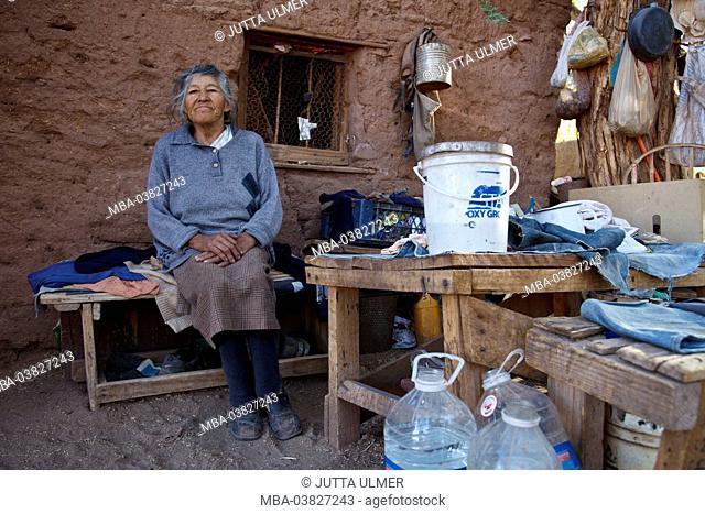 Chile, San Pedro de Atacama, Ayllu de Coyo, old woman