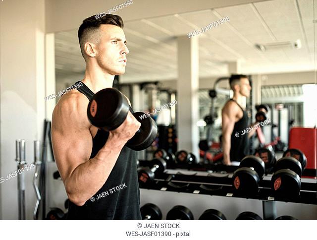 Man training biceps in gym