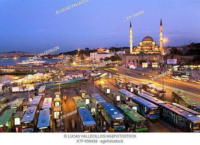 Yeni Cami mosque and bus station of Eminonu , Eminonu quarter  Istanbul  Turkey