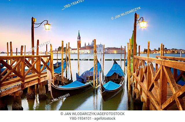 Venice - gondola and San Giorgio Maggiore Church before sunrise time, Venice, Italy, UNESCO