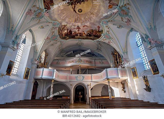 Organ loft, St. Laurentius, Königsdorf, Bavaria, Germany