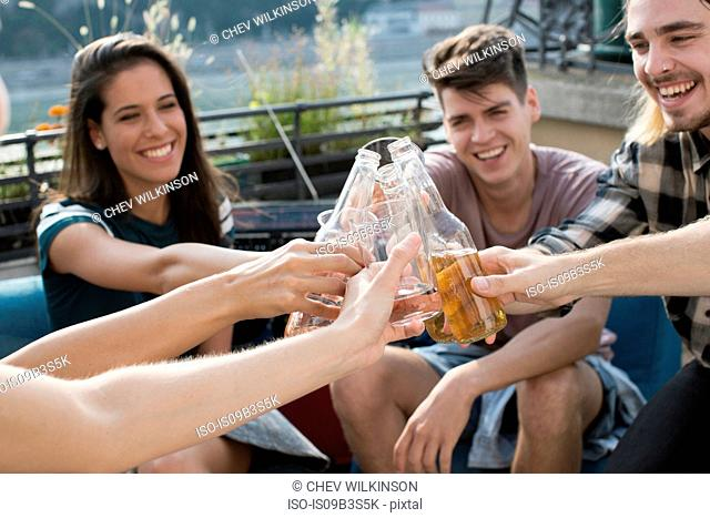 Adult friends raising a toast at roof terrace party, Budapest, Hungary