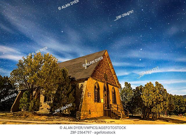 This is a moonlit nightscape of the historic Hearst Church in Pinos Altos, New Mexico, at 7000 feet altitude (thus the name â. œHigh Pinesâ