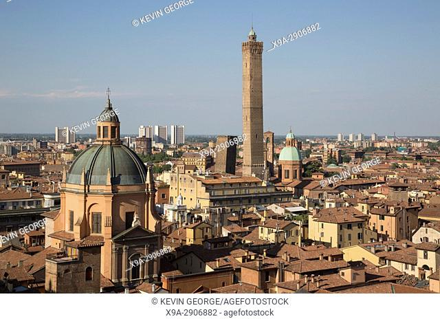 Cityscape, Tower and Church Dome, Bologna; Italy