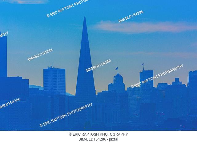 Silhouette of San Francisco city skyline, California, United States