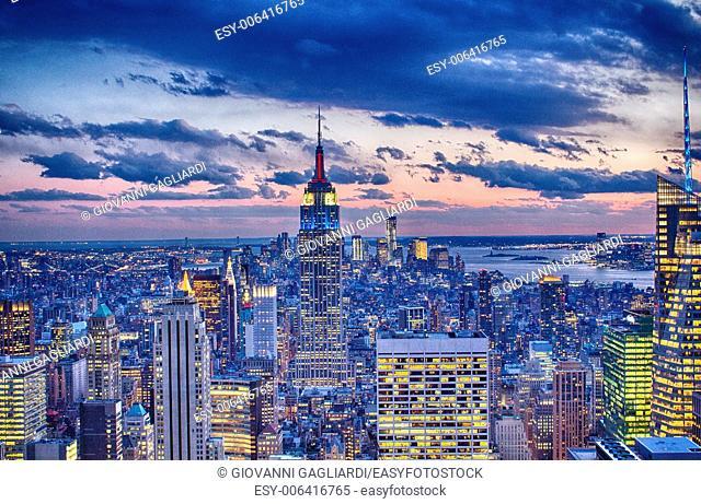 New York skyline in winter season