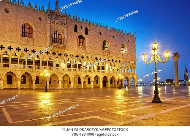 Venice - San Marco Square, Doge's Palace (Palazzo Ducale) by night, Venice, Italy, UNESCO