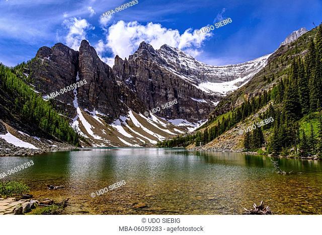 Canada, Alberta, Banff National Park, Lake Louise, Lake Agnes against Mount Whyte