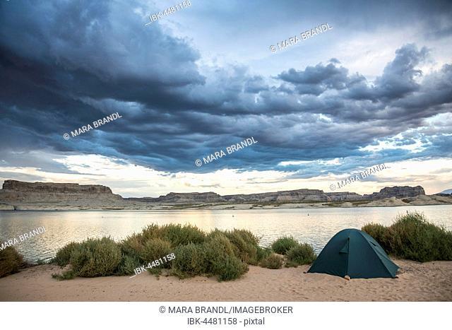 Tent at Lone Rock Beach, Lake Powell, Utah, USA