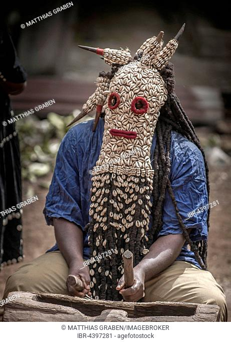 Men of the ethnic group of the Bamileke with traditional masks, Dance of Death in honor of a deceased person, Badenkop, West Region, Cameroon