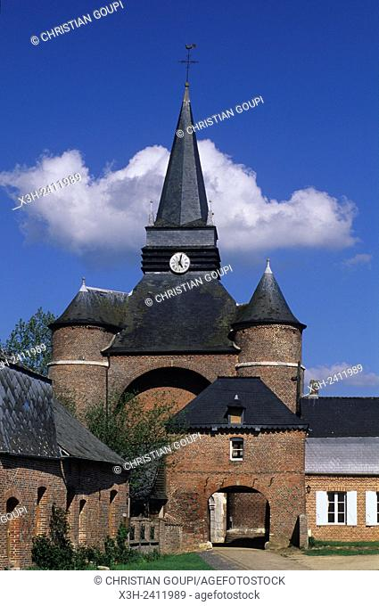 fortified church of Parfondeval in the Thierache region, Aisne department, Picardy region, northern France, Europe