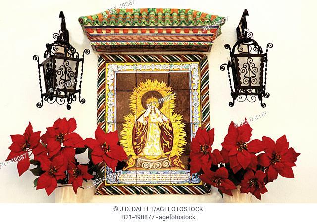 Virgin in a street at Moguer. Huelva province. Spain