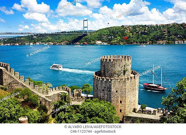 Rumeli Fortress..European Fort and Fatih Bridge. Bosphorus Strait. Istanbul. Turkey