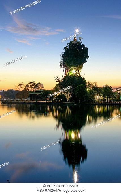 Hpa-An, Kyauk Kalap Buddhist monastery, pagoda, lake, Kayin (Karen) State, Myanmar (Burma)
