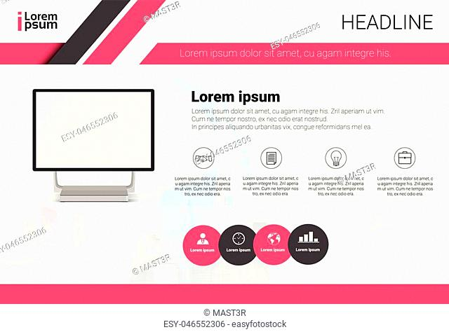 Computer Data Set Infographic Copy Space Colorful Text Business Banner Flat Vector Illustration