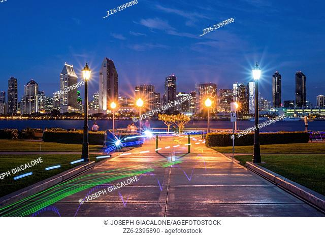 View of San Diego Harbor and Downtown buildings at night from Centennial Park. Coronado, California, United States