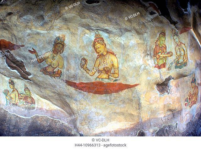 Frescoes at King Kasyapa's Pool, Sigiriya, Sri Lanka
