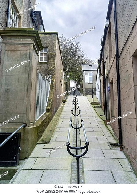Lerwick, capital of the Shetland Islands in Scotland. Lanes and alleys in old town waterfront. Europe, Great Britain, Scotland, Northern Isles, Shetland, May