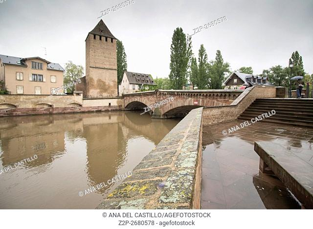 """Cityscape in Strasbourg in Alsace France. Ponts Couverts is located in the historic district """"""""Petite France"""""""""""