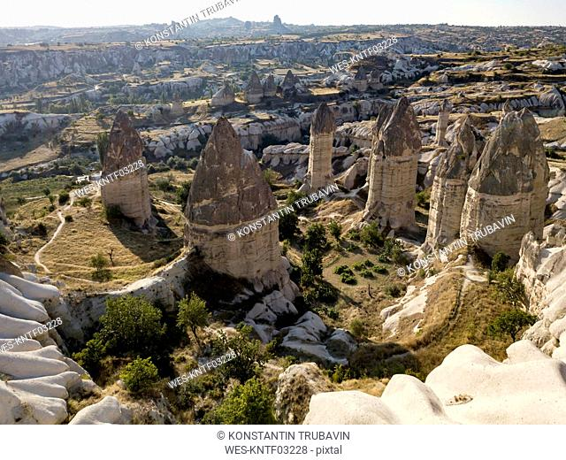 Aerial view of Love valley at Goreme, Cappadocia, Turkey