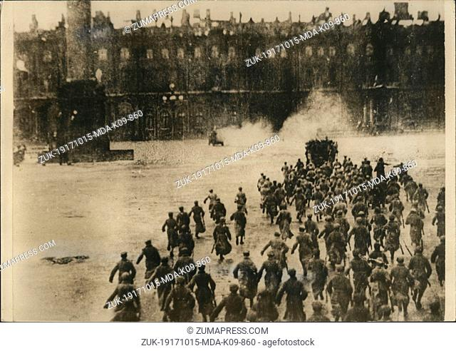 Oct 15, 1917 - Leningrad, Russia - A scene during the fighting in a central section of Moscow during the October Revolution when soldiers and sailors attacked...
