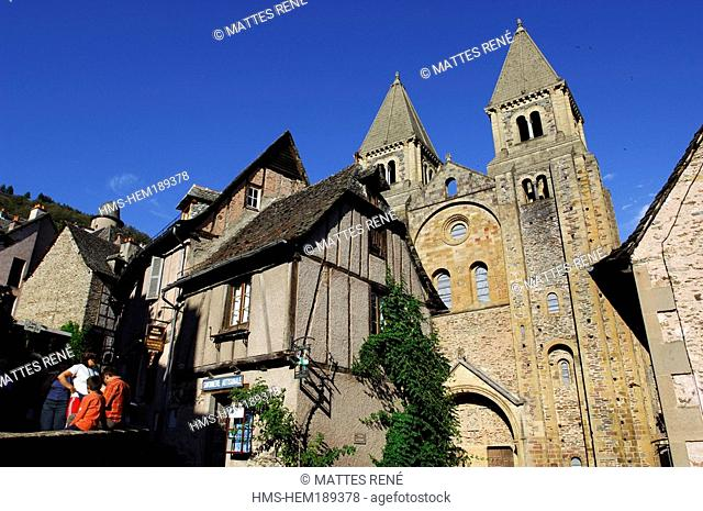 France, Aveyron, Conques, Sainte Foy abbey church 11th and 12th centuries, a stop on el Camino de Santiago, pilgrimage road to Compostela