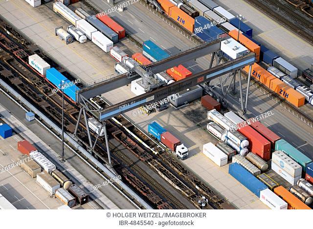 Aerial view, Container transhipment, Deutsche Umschlaggesellschaft Schiene-Straße, DUSS Terminal Hamburg-Billwerder, Hamburg, Germany