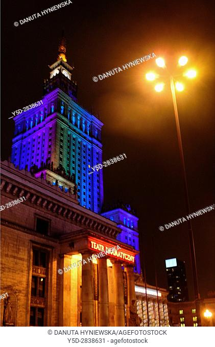 Palac Kultury i Nauki - PKiN - Palace Of Culture And Science by night, Warsaw, Poland, Europe