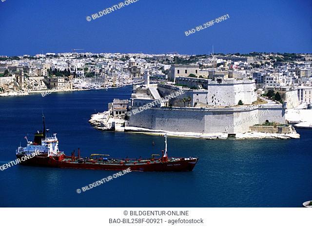 The centre of Valletta of the capital of Malta in the Mediterranean Sea in Europe