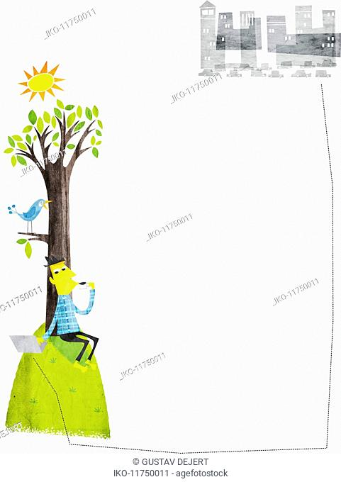 Man under tree drinking coffee and using laptop connected to distant city