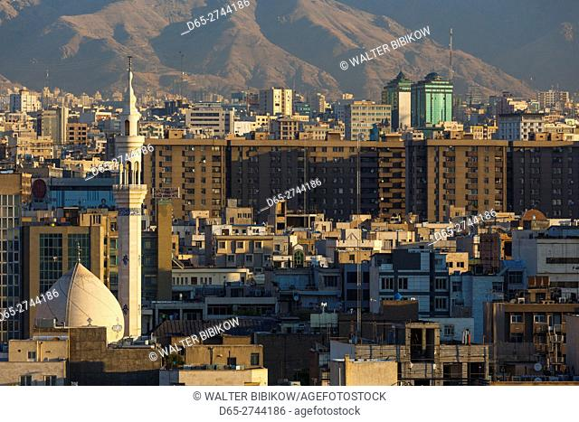 Iran, Tehran, elevated city view with mosque, dawn