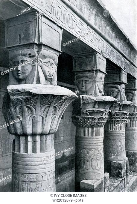 A 1920s close-up of the Hathor-headed columns at the temple believed to have been dedicated to the Egyptian goddess Hathor on the island of Philae