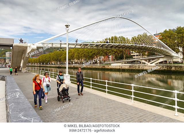 Nervion river and Zubizuri bridge. Bilbao. Biscay, Spain, Europe
