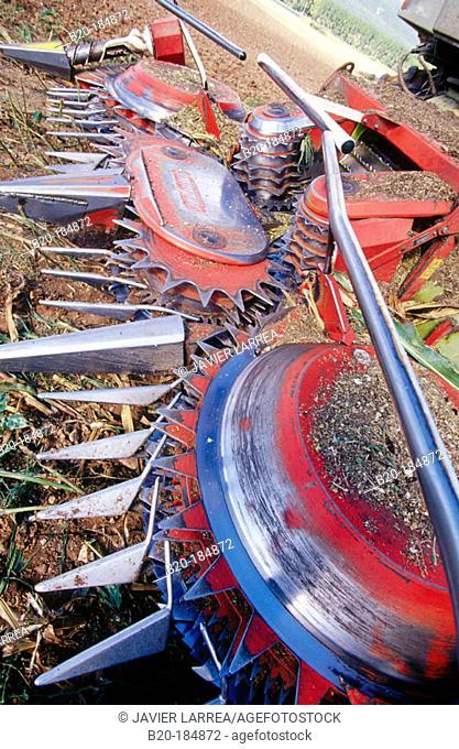 Detail of combine-harvester. Navarre. Spain