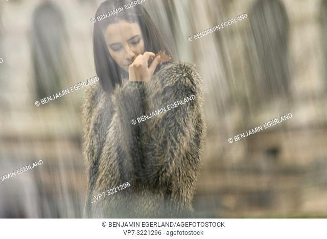 woman, autumn leave