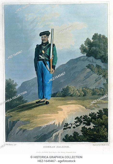'Gorkah Soldier', 1819. From Journal of a Route Across India and Through Egypt by George Augustus Fitzclarence
