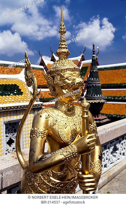 Golden statue, Wat Phra Kaew, Grand Palace, Bangkok, Thailand