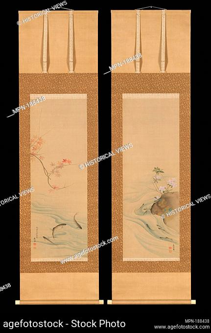 Sweetfish in Summer and Autumn. Artist: Maruyama Okyo (Japanese, 1733-1795); Period: Edo period (1615-1868); Date: 1785; Culture: Japan; Medium: Pair of hanging...