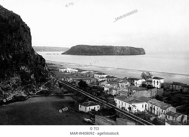 Europe, Italy, Calabria, praia a mare, landascape with the island of dino in the background, 1930-40