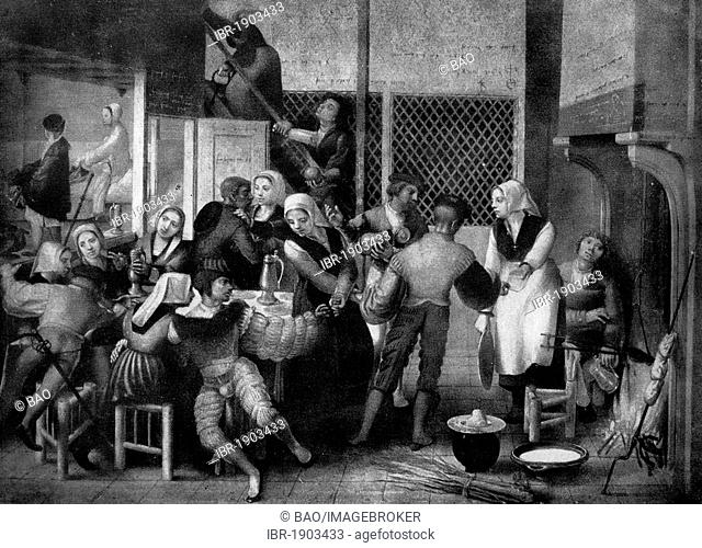 Life in a women's shelter, after a painting by Jan van Hemessen, 16th century, historical woodcut, circa 1865