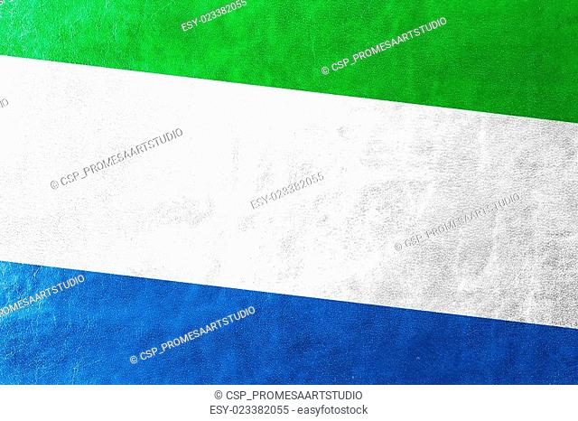 Sierra Leone Flag painted on leather texture