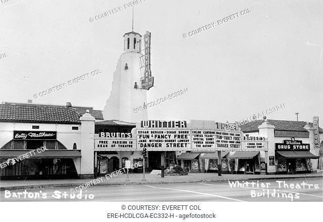 The Whittier Theatre Complex, Bruen's Whittier is showing FUN & FANCY FREE, and DANGER STREET, DESERT FURY, is coming soon, 11602-11612 East Whittier Boulevard