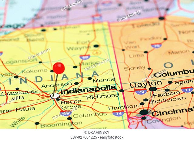 Map Of The State Of Indiana Stock Photos And Images Agefotostock