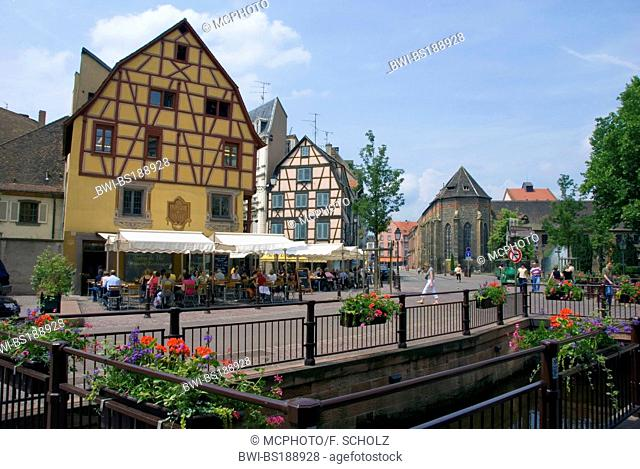 timer framed houses of the old town, on the right hand side is the museum Unterlinden at the Place des Martyrs de la Resistance, France, Alsace, Colmar