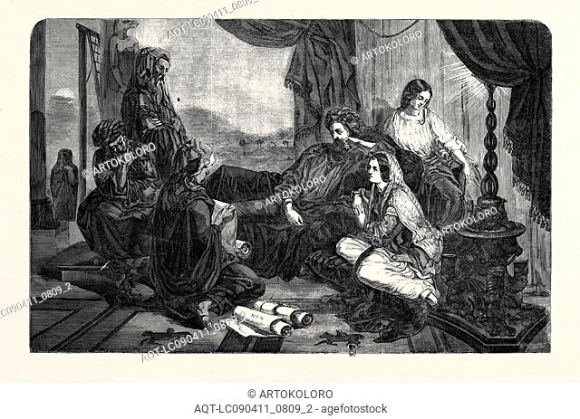 EXHIBITION OF THE ROYAL ACADEMY, THE CHRONICLES READ TO AHASUERUS THE KING, PAINTED BY O'NEIL