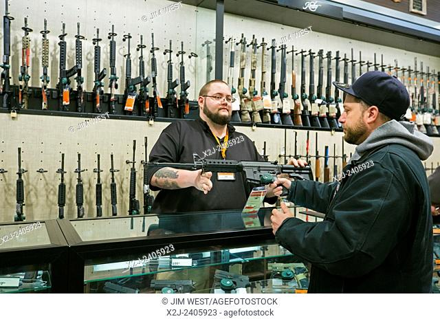 Troy, Michigan - Firearms on sale at the Field & Steam outdoors store